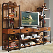 Modern Craftsman Oak Finish Entertainment Center, HOT-5050-34
