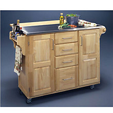 Natural Kitchen Cart with Breakfast Bar, 8804116