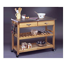 Natural Wood Kitchen Cart with Stainless Steel Top, HOT-5217-95