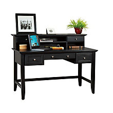 Ebony Finish Laptop Desk with Hutch, HOT-5531-152