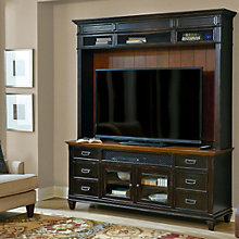 "Hartford Two Tone Storage TV Stand with Hutch - 75""W, 8803416"
