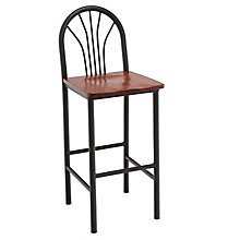 Cafe Stool with Wood Seat and Metal Frame, KFI-BR3720W