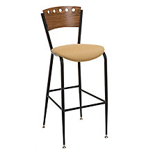Cafe Stool with Wood Back and Fabric Seat, KFI-BR3818AU
