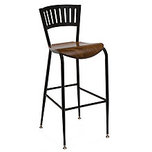 Cafe Stool with Wood Seat and Steel Frame, KFI-BR3818LAW