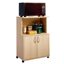 Natural Maple Doored Microwave Cart, MEG-599