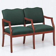 Traditional Style Two Seat Reception Chair with Center Arm, LES-D2953K5