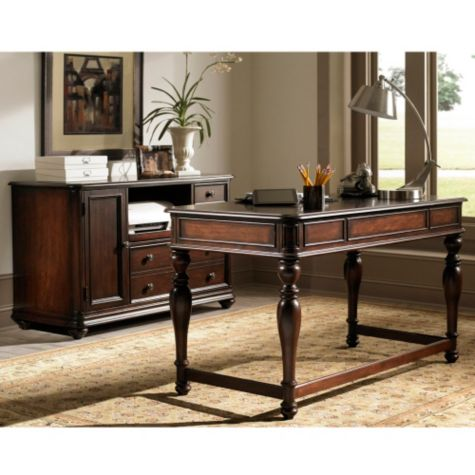 Kingston Plantation Writing Desk and Storage Credenza Set ...