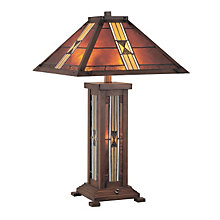 Mission Style Table Lamp with Tiffany Shade, LTS-LS20812