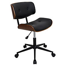 Lombardi Armless Bentwood Task Chair in Faux Leather, 8804917