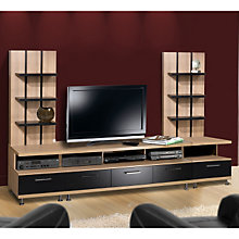 Three Piece Biscotti Entertainment Center with Black Accents, MEG-400082