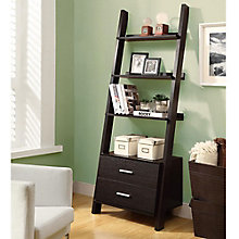 "Four Shelf Ladder Bookcase with Drawers- 69""H, MOA-01241"