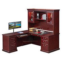 """Kathy Ireland Huntington Club L-Desk with Left Return and Hutch - 69""""W, 8805068"""