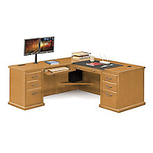 "Wheat Oak L-Desk with Left Return - 68""W, 8805058"