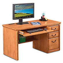 "Wheat Oak Single Pedestal Desk - 55.5""W, 8805041"