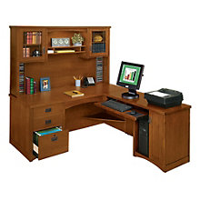 Mission Oak Executive L-Desk with Right Return and Hutch, OFG-LD1004