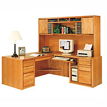 Medium Oak Computer L-Desk with Right Return and Hutch, OFG-LD1020