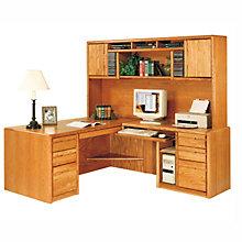 Medium Oak Computer L-Desk with Right Return and Hutch, OFG-LD1020