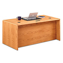 "Contemporary Oak Double Pedestal Desk - 68""W, 8805024"