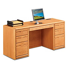 "Contemporary Oak Double Pedestal Credenza - 68.25""W, 8805025"