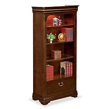 "Four Shelf Open Bookcase with File Drawer - 78.25"" H, MRN-PT3678"