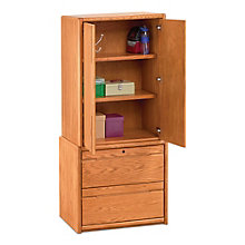 "Contemporary Oak Wardrobe with File - 34""W, 8805039"