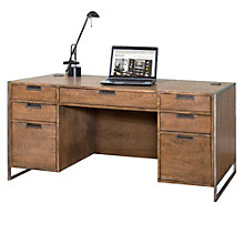 "Wire Brushed Compact Desk with Steel Frame - 66""W, 8801887"