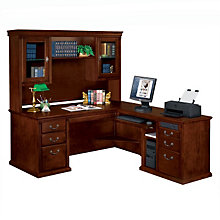 Huntington Cherry L-Desk with Right Return and Hutch, OFG-LD0103