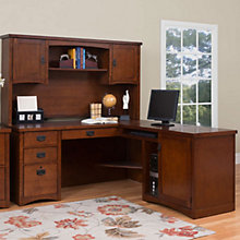 Mission Pasadena Right L-Desk with Hutch, MRN-10752