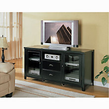 Tribeca Loft Black Tall TV Stand with Glass Doors, MRN-TL363