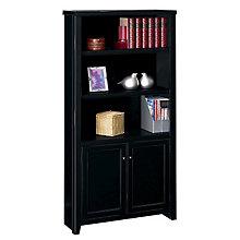 "Tribeca Loft Black Five Shelf Bookcase with Doors - 70"" H, MRN-TL3670D"
