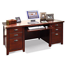 Tribeca Loft Cherry Glass Door Executive Desk, MRN-TLC680