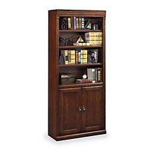 "Burnished Oak Six Shelf Doored Bookcase - 72""H, MRT-HO3072DB"