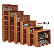 Medium Oak Four Shelf Bookcase, MRT-OB3648