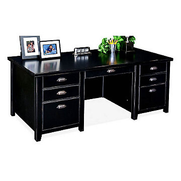 Tribeca Loft Black Glass Door Executive Desk, TL680