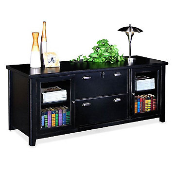 Tribeca Loft Black Glass Door Storage Credenza, TL687