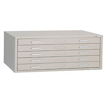 "Steel Five Drawer 47"" Wide Flat File Cabinet, 8804041"