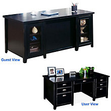 Tribeca Loft Black Glass Door Executive Desk, MRT-TL680