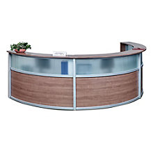 "Triple Reception Desk with Glass Panel - 142""W x 72""D, 8804964"