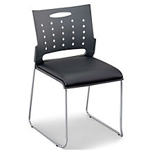 Plastic Stack Chair with Padded Seat and Chrome Frame , 8804879