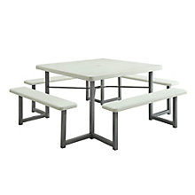 "Valuemax Square Plastic Picnic Table with Benches - 49""W, 8802426"