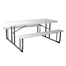 "Valuemax Rectangular Plastic Picnic Table with Benches - 72""W, 8802427"