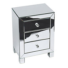 Reflections Mirror Plated Three Drawer Accent Table, OFF-10939