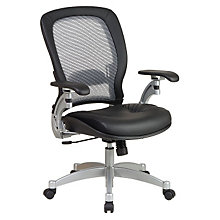 Mid Back Mesh and Leather Ergonomic Computer Chair, OFS-3680