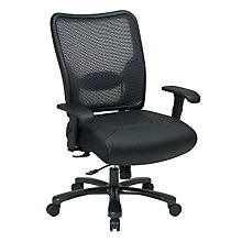 Big and Tall Mesh and Leather Ergonomic Task Chair, OFF-75-47A773