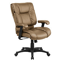 Work Smart Tufted Leather Desk Chair, OFF-EX9381