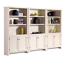 Tribeca Loft White Bookcase Wall with Doors, OFG-BC1032