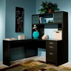 New York Skyline Reversible L-Desk with Hutch, OFG-BK0001