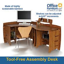 Bamboo Corner Desk with Peninsula, OFG-CD0033