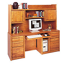 Medium Oak Computer Credenza with Hutch, OFG-CR0002