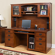 Mission oak computer desk with hutch ofg dh1003 - Mission style computer desk with hutch ...